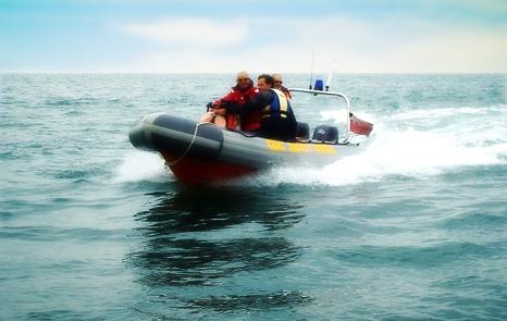 Rib boat on water at Bracklesham Bay