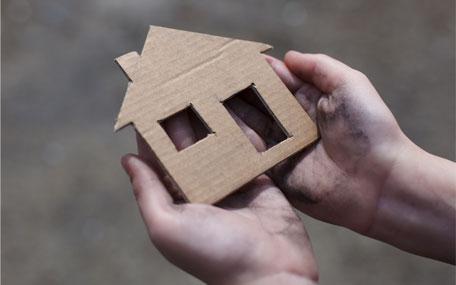 Homelessness - cardboard house