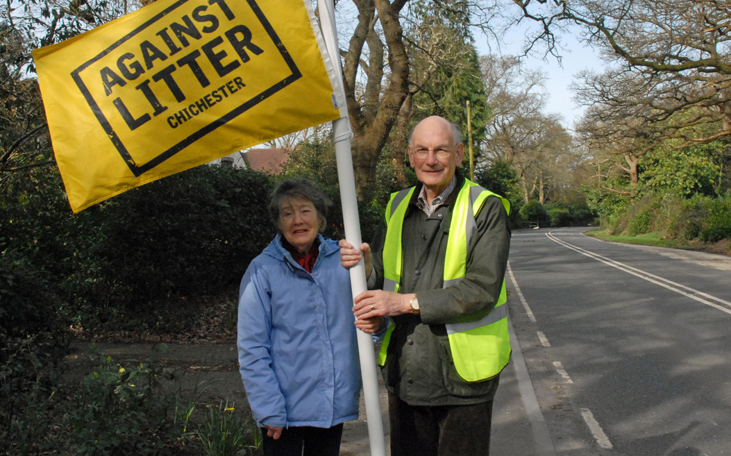 Cllr Tony Dignum and his wife, supporting our Against Litter Campaign