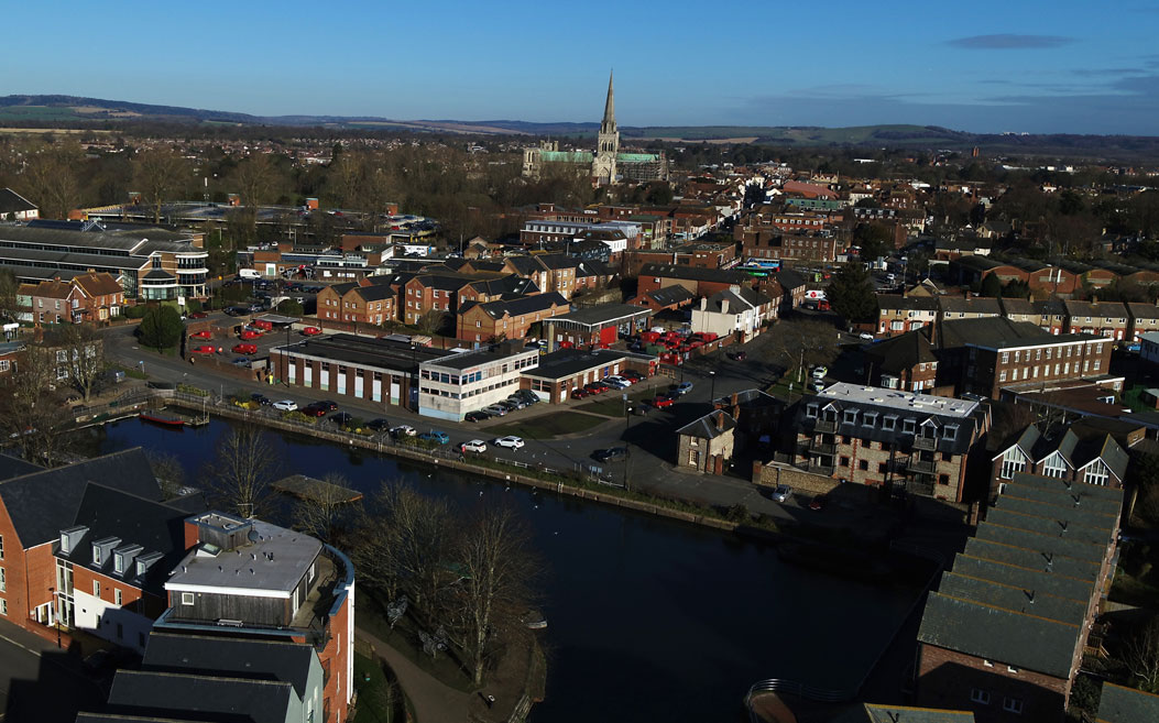 Aerial view to Chichester Cathedral