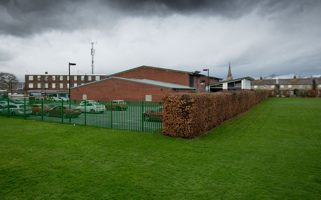 Playing field behind police custody centre