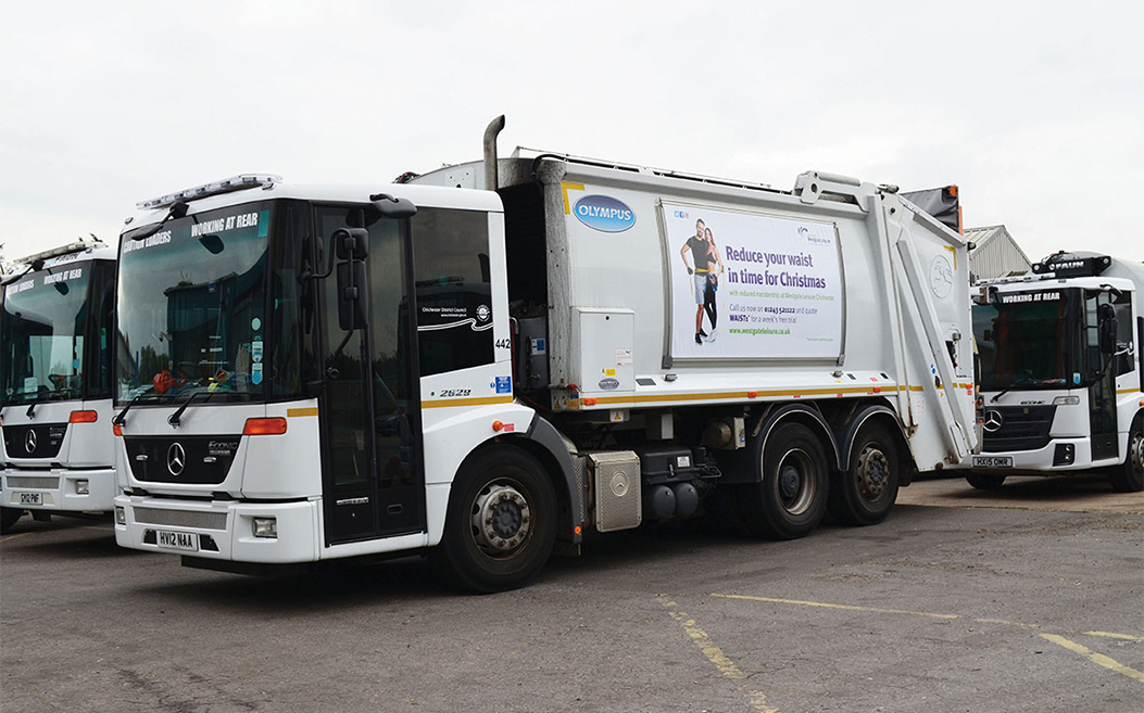 Recycling truck poster advertising
