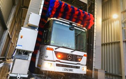 Lorry getting a car wash
