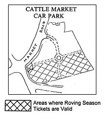 Location of x roving ticket spaces in cattle market