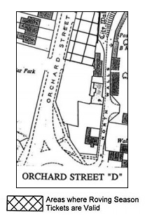 Location of x roving ticket spaces in Orchard Street car park