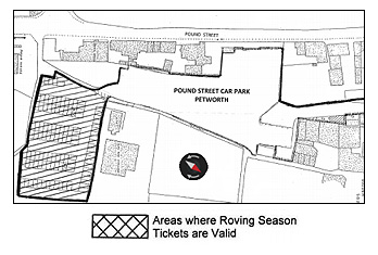 Location of x roving ticket spaces in Pound Street car park