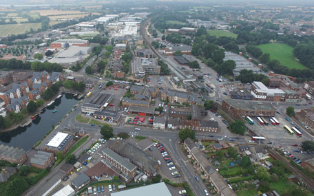 Southern Gateway - aerial view over Royal Mail