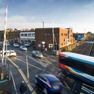 Thumbnail image of View from railway bridge to bus station